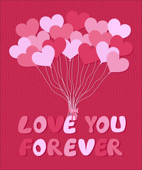 Valentine's card template with balloons form of hearts