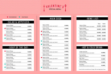 Valentine's day Menu design template layout Restaurant Cafe