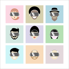 Set of Different People Wearing Virtual Reality Headset