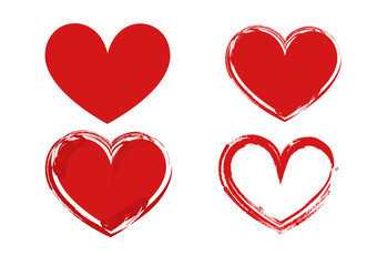 Red hearts shape with different drawing style isolate on white background