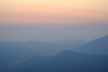 Beautiful sunrise view of Mountain landscape at Phu Rua National