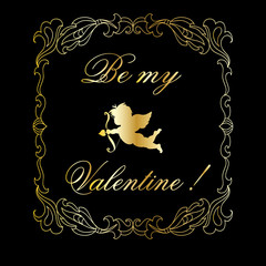 Valentine greeting card with cupid