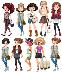 Girls in different clothings