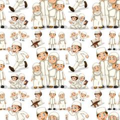 Seamless muslim family in white costume