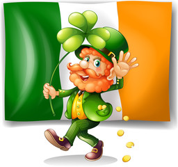 Leprechaun and Irish flag