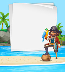 Border design with pirate on the beach