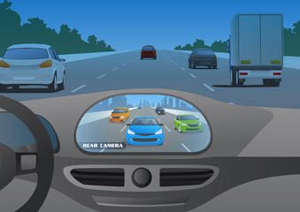 car cockpit and rear view camera image, mirror lesscar, vector illustration