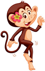 Cute monkey with flower smiling