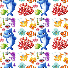 Seamless sea creatures and coral reef