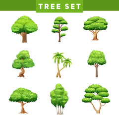 Tree Crowns Flat Icons Set