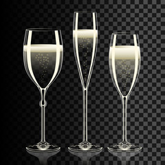Set of transparent champagne glasses with sparkles