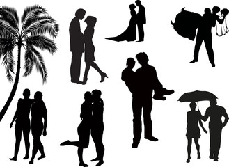 black seven wedding couples isolated on white