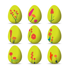 Set Easter eggs and happy easter with floral