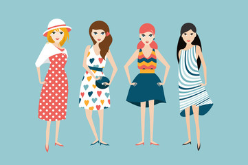 Group of 4 fashion friends woman. Flat vector.