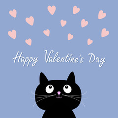 Hearts and cute cartoon cat. Flat design style. Happy Valentines day card. Rose quartz serenity color background