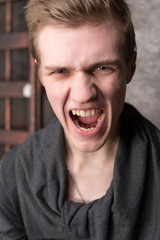 Portrait of screaming young men