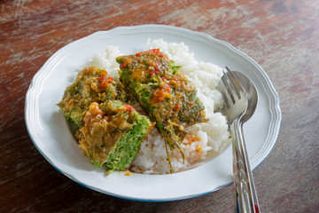 Cha-OM-plated egg with shrimp paste chili sauce, Thai Cuisine