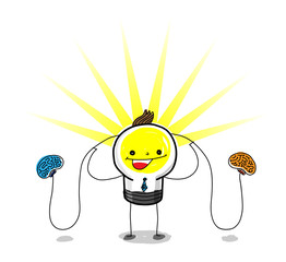 Business:Brainstorming / Left brain and right brain work together make a light bulb bright.