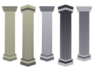 Column. Doric, Roman style. Set of columns. Vector illustration.