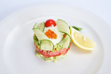 Tartare with salmon on white plate studio shot