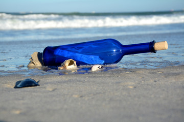 Message in a blue bottle washed up on a beach