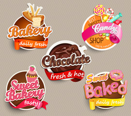 Food Label or Sticker - bakery, chocolate, sweet baked, candy,sweet bakery - Design Template. Vector illustration.