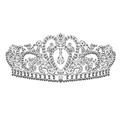 Crown vector. Tiara. Painted diadem. A princess. The royal crown. Queen.