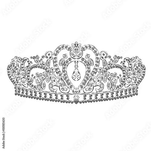 Vector: Crown vector. Tiara. Painted diadem. A princess. The royal ...