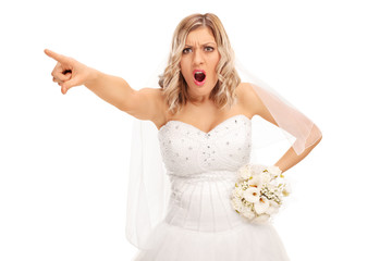 Angry bride pointing with her finger