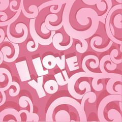 Pink Valentine card I Love You