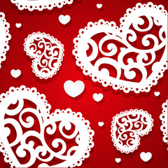Seamless pattern of appliques of hearts Valentine