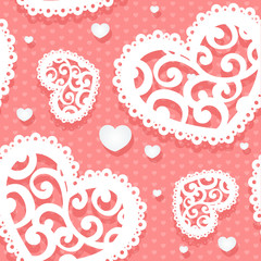 Seamless tenderly pattern of appliques of hearts Valentine