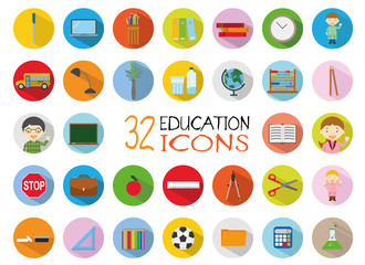 32 Education Icons Set. Colorful, flat style vector Illustration.
