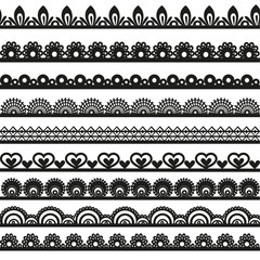 Large set of openwork lace borders black