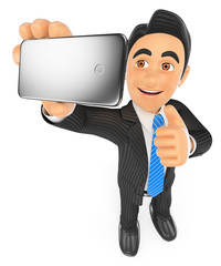 3D Businessman taking a selfie with mobile phone