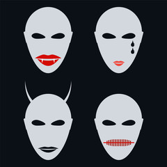 Set of four faces, masks an abstract style. Halloween, vampire,