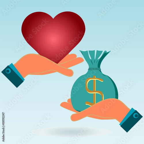 Red Heart And Money Bag In His Hands Love Exchange For