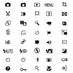 Vector camera functions & menu icons set