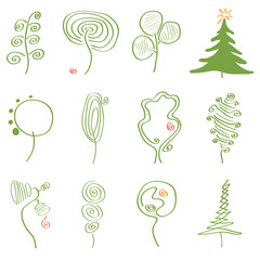 vector set of abstract trees/set of vector illustrations of trees of different abstract