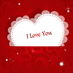 Laced applique Valentine card I love you