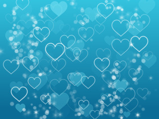 Hearts and bubbles floating on ocean blue background