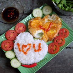Vietnamese food, cooked rice, omelet, Valentine day