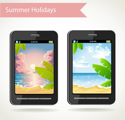 Smart phone with a photo of sunset and palm trees and beach day