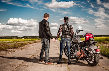 Wall Mural - Bikers couple