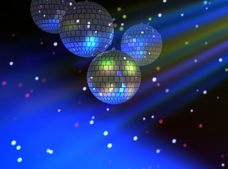 Disco party background with colorful light rays and bokeh circles . 3d illustration.
