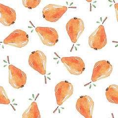 Seamless Patterns with  watercolor pears