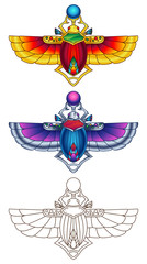 Egyptian Scarab Colorful Vector Illustration 1