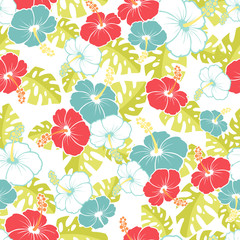 Hawaiian Seamless  Pattern with hibiscus flowers