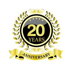 20 anniversary with glossy golden wreath and ribbon