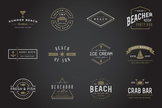 Set of Vector Beach Sea Bar Elements and Summer can be used as Logo or Icon in premium quality